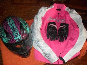 Combo protección para motociclista Talla S Incluye Casco,