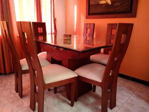 Mesa y 6 sillas comedor vidrio mm base marmol posot class - Bases para mesa de comedor ...