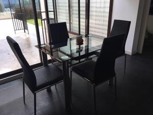 Vendo comedor moderno 4 puestos mesa vidrio posot class for Comedor 4 puestos vidrio
