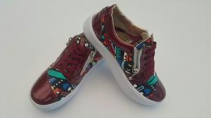 Zapatos Deportivo Casual Tenis Charol Color Vinotinto Mujer