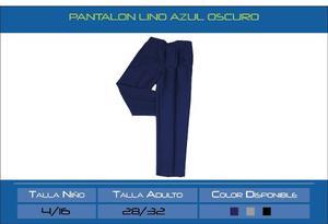 Pantalon Lino Azul Oscuro, Negro Niños