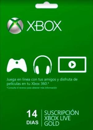 Menbresia Xbox Live Gold 14 Días - Xbox 360 - Xbox One