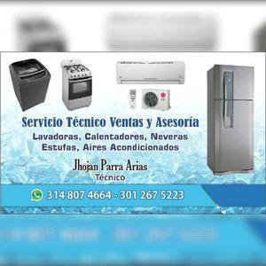 Reparacion de neveras, lavadoras, estufas, calentadores,