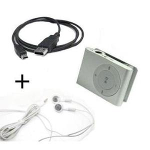 Reproductor Mp3 Mini Clip + Audífonos Y Cable Usb