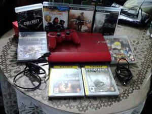 Playstation3 Super Slim 500gb Edición Red + Juegos Int Y
