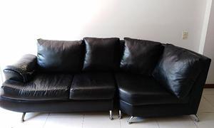 Sala Sofá Mueble 3 Piezas En L Ucuerina Patas Hierro