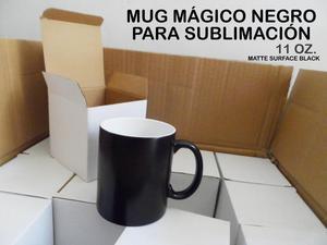 Mug mágico negro con cajita blanca para sublimación