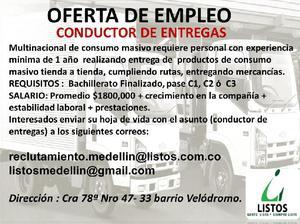 CONDUCTOR ENTREGADOR CON PASE C1 C2 C3 - Medellín