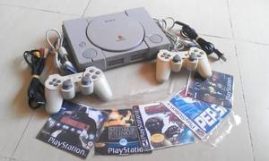 Play Station 1 Fat + 2 Controles + Cables + 5 Juegos