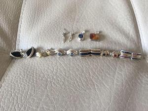 hermosos aretes de joyeria en plata y oro 18K contramarcado,