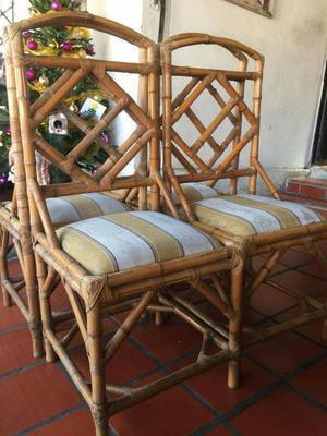 4 Sillas de Madera Bambú