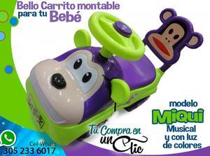 Bello Carrito montable para tu bebé MIQUI, luces de colores