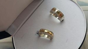 2x1 Par Deargollas Matrimonio/compromiso En Oro 18k Y Plata