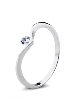 Anillo Compromiso Oro Con Diamante De 15 Puntos