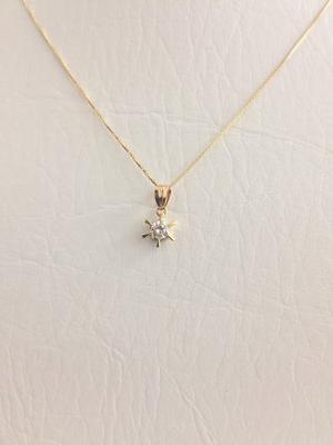 Cadena Y Dije Con Diamante 0.20 Ct Certificado Oro 18k