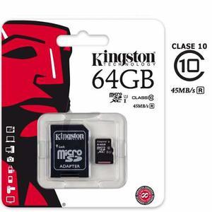 Memoria Micro Sd Kingston 64 Gb Clase 10 Garantizada 100 %