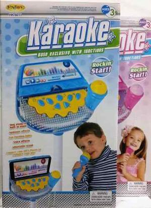 Karaoke Infantil Microfono Tripode Melodias Color Azul