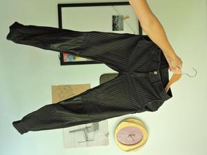Pantalón dril Negro con rayas blancas