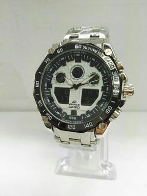 Reloj Casio Edifice Borde Negro Blanco