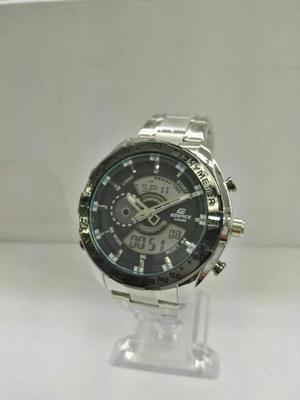Reloj Casio Edifice Plateado Fondo Negro