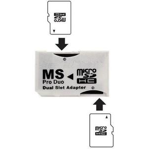 Ebest Blanco Doble Ranura Psp Memory Stick Pro Duo Adaptador