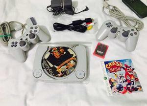Play 1 Con Chip Memoria Y Controles Originales