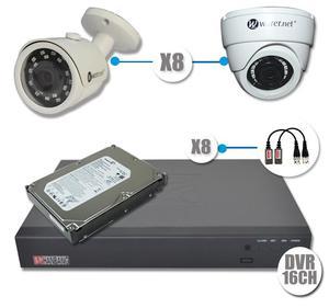 COMBO DE SEGURIDAD AHD CCTV DVR 16 CANALES 8 CÁMARAS DOMO