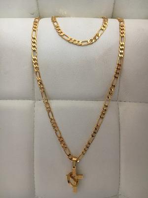 Cadena Cartier Acero Enchape En Oro 18k 22+esclava+dije Cruz
