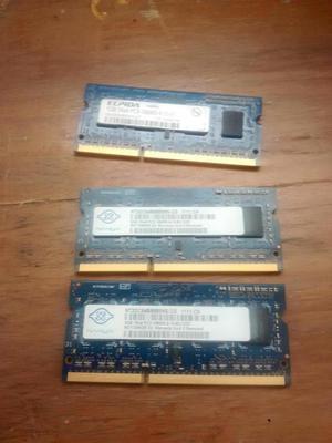 VENDO MEMORIAS DDR3 PARA PORTÁTIL DE 2 GIGAS Y DE UNA GIGA,