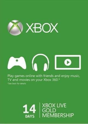 Xbox Live Gold 14 Dias Región Libre(xbox One/360) Codigo