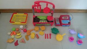 Vendo combo set de cocina de juguete con accesorios y caja