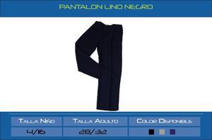 Pantalon Lino Azul Oscuro, Negro Talla