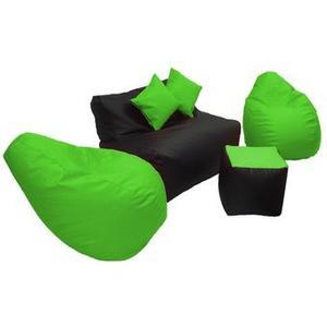 Sala Puff Pera Ecocuero - Verde Manzana Negro Muebles Fantas