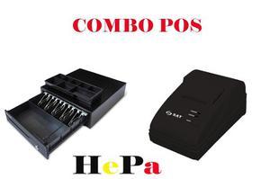 Combo Pos Cajón Monedero Metálico Impresora Térmica 58mm