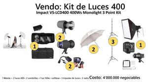 Kit De Luces 400 Impact Vslcdws Monolight 3 Point