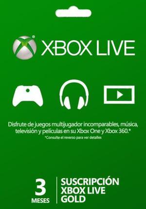 Membrecia Xbox Live Gold 3 Meses Xbox One 360