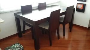 Comedor 4 puestos madera flor morado nuevo posot class for Comedor 4 puestos vidrio