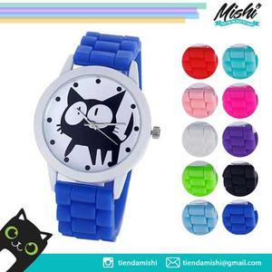 Reloj Gato Negro Con Pulsera En Silicona