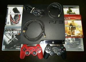 PS3 Slim 160 GB, 2 Controles Originales, 6 Juegos, HDMI