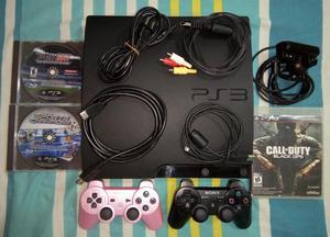 PS3 Slim 160 GB con CHIP, 2 Controles Originales, Camara, 12