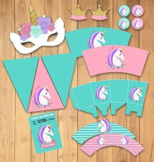 Invitacion Unicornio Tarjetas Personalizadas Kit Posot Class