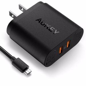 Aukey Cargador Carga Rápida Dual Qc w + Cable