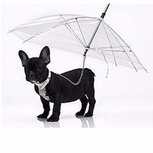 Sombrilla Perros Mascotas Transparente Correa 75cm Diametro