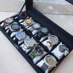 Caja De Lujo Para 12 Relojes. Elegante Práctica.