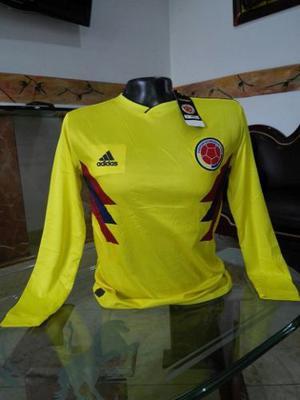 Camiseta Selección Colombia Rusia  Manga Larga Lisa