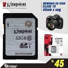 Memoria Sd 32 Gb Clase 10 Kington