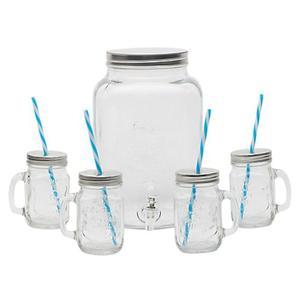 Jarra Mason Vidrio De 8 Litros Y Dispensador + 4 Vasos Mason