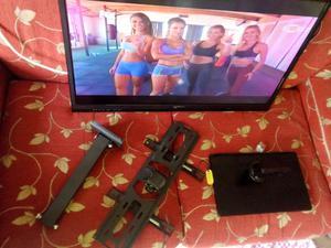 tv led de 32 pulgadas con base de mesa y soporte de pared
