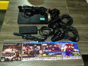 Co Consola Playstation 2+2controles+chip+4 Juegos