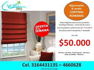 Lavado cortinas Romanas, panel japones, enrrollables